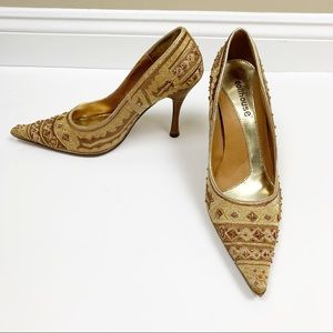 Dollhouse gold embroidered beaded pointed toe heel
